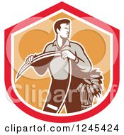 Clipart Of A Retro Male Wheat Farmer Holding A Scythe In A Red And Orange Shield Royalty Free Vector Illustration