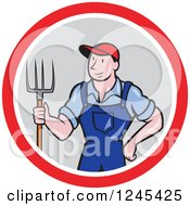 Clipart Of A Cartoon Male Farmer Standing With A Pitchfork In A Circle Royalty Free Vector Illustration