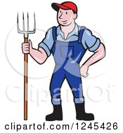 Clipart Of A Cartoon Male Farmer Standing With A Pitchfork Royalty Free Vector Illustration