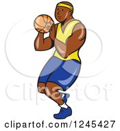 Clipart Of A Cartoon Black Male Basketball Player Shooting Royalty Free Vector Illustration