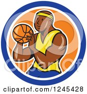 Clipart Of A Cartoon Black Male Basketball Player Shooting In A Circle Royalty Free Vector Illustration by patrimonio