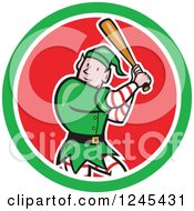 Clipart Of A Baseball Elf Batting In A Circle Royalty Free Vector Illustration