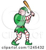 Clipart Of A Baseball Elf Batting Royalty Free Vector Illustration