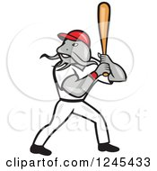Clipart Of A Baseball Catfish Batting Royalty Free Vector Illustration