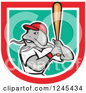 Clipart Of A Baseball Catfish Batting In A Shield Royalty Free Vector Illustration by patrimonio