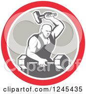 Clipart Of A Retro Male Blacksmith With A Hammer And Dumbbell In A Circle Royalty Free Vector Illustration
