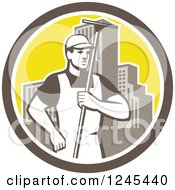 Clipart Of A Retro Male Window Washer Holding A Squeegee In A City Circle Royalty Free Vector Illustration