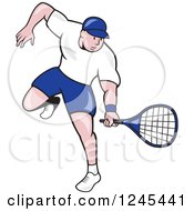 Clipart Of A Cartoon Male Tennis Player Swinging Royalty Free Vector Illustration by patrimonio