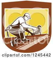Clipart Of A Retro Male Roofer Using A Nail Gun In A Shield Royalty Free Vector Illustration