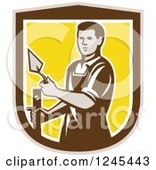 Clipart Of A Retro Male Plasterer Worker In A Shield Royalty Free Vector Illustration