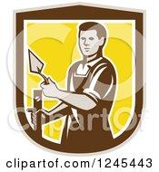 Retro Male Plasterer Worker In A Shield