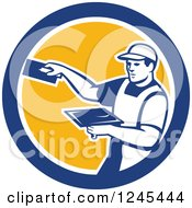 Retro Male Plasterer Worker In A Circle