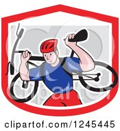 Clipart Of A Cartoon Male Cyclist Repair Man Holding Up A Bike In A Shield Royalty Free Vector Illustration by patrimonio