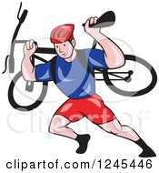 Clipart Of A Cartoon Male Cyclist Repair Man Holding Up A Bike Royalty Free Vector Illustration by patrimonio