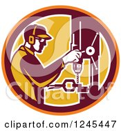 Clipart Of A Retro Male Worker Operating A Drill Press In A Circle Royalty Free Vector Illustration