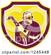 Clipart Of A Retro Male Welder Holding His Tool In A Shield Royalty Free Vector Illustration by patrimonio