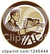 Clipart Of A Retro Male Photographer With A Bellows Camera In A Circle Royalty Free Vector Illustration by patrimonio