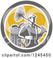 Clipart Of A Retro Male Chimney Sweep And Brick Chimney In A Circle Royalty Free Vector Illustration by patrimonio