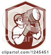 Clipart Of A Retro Male Lighting Technician Holding A Spotlight In A Shield Royalty Free Vector Illustration by patrimonio