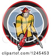 Clipart Of A Retro Male Fireman With An Axe And Hook In A Circle Royalty Free Vector Illustration by patrimonio