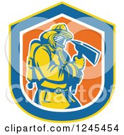 Clipart Of A Retro Male Fireman With An Axe In A Shield Royalty Free Vector Illustration by patrimonio