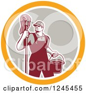 Retro Male Janitor With A Mop And Bucket In A Circle