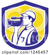 Clipart Of A Retro Camera Man In A Yellow And Blue Shield Royalty Free Vector Illustration