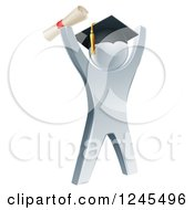 Clipart Of A 3d Silver Graduate Cheering Royalty Free Vector Illustration