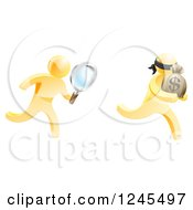 Clipart Of A 3d Gold Detective Chasing A Thief With A Magnifying Glass Royalty Free Vector Illustration