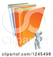 Clipart Of A 3d Silver Man Looking Up At Giant Books Royalty Free Vector Illustration