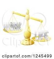 Clipart Of 3d Imbalanced Golden Scales With Work And Life Equally Royalty Free Vector Illustration