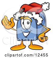 Clipart Picture Of A Blue Postal Mailbox Cartoon Character Wearing A Santa Hat And Waving