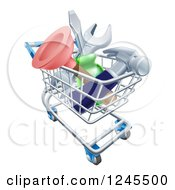 Clipart Of A 3d Shopping Cart Full Of Tools Royalty Free Vector Illustration by AtStockIllustration