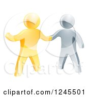 Clipart Of A Handshake Between 3d Gold And Silver Men With One Guy Pointing Royalty Free Vector Illustration