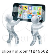 Clipart Of 3d Silver Men Carrying A Giant Smartphone Royalty Free Vector Illustration