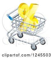 3d Golden Percent Discount Symbol In A Shopping Cart