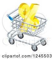 Clipart Of A 3d Golden Percent Discount Symbol In A Shopping Cart Royalty Free Vector Illustration