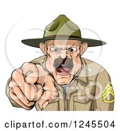 Clipart Of A Drill Sargent Spitting And Shouting Royalty Free Vector Illustration