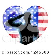 Clipart Of A Silhouetted Male Military Veteran Saluting Over An American Flag Heart And Bursts Royalty Free Vector Illustration by AtStockIllustration