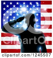 Silhouetted Male Military Veteran Saluting Over An American Flag And Bursts