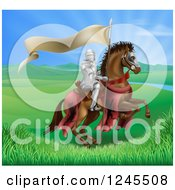 Clipart Of A Horseback Medieval Knight In Armor Riding With A Banner In A Lush Landscape Royalty Free Vector Illustration
