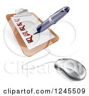 Clipart Of A 3d Computer Mouse Connected To A Survey Clipboard Royalty Free Vector Illustration