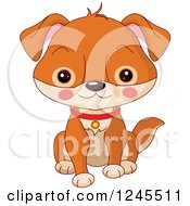 Clipart Of A Cute Brown Baby Puppy Dog Sitting Royalty Free Vector Illustration by Pushkin