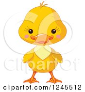 Clipart Of A Cute Yellow Baby Duckling Royalty Free Vector Illustration