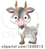 Clipart Of A Cute Baby Farm Goat Royalty Free Vector Illustration