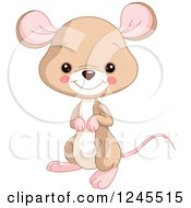 Clipart Of A Cute Brown Baby Mouse Royalty Free Vector Illustration by Pushkin