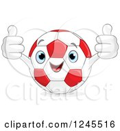 Clipart Of A Happy Red And White Soccer Ball Holding Two Thumbs Up Royalty Free Vector Illustration