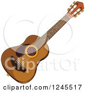 Clipart Of A Wooden Acoustic Guitar Royalty Free Vector Illustration