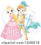 Clipart Of A Happy Fairy Tale Fantasy Princess And Knight Flirting Royalty Free Vector Illustration