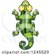 Clipart Of A Striped Green Chameleon Lizard Royalty Free Vector Illustration by Cory Thoman
